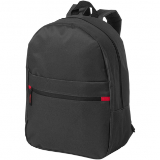 Backpack with zipped main compartment and front pocket. Adjustable padded shoulder straps and top carry handle.