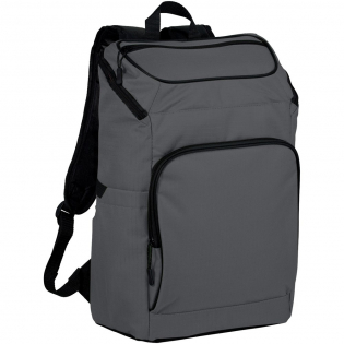"""Durable ripstop polyester adds durability and creates a great look. This unique laptop backpack holds up most 15.6"""" laptops as well as featuring plenty of organization with it's unique zipped top opening to make getting in and out of the bag easy. Elastic side pockets are tall enough for large water bottles, and the front zipped pocket offers the organization you need for pens, flash drives, or cards. Zipped mesh pocket under the flap is perfect to stash your snacks for a long hike, or your power bank and cables that you need to get to quickly while traveling."""