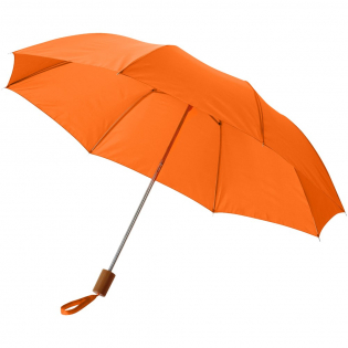 """Parapluie 20"""" 2 sections avec poignée plastique. Mât en métal, livré avec une pochette de rangement."""
