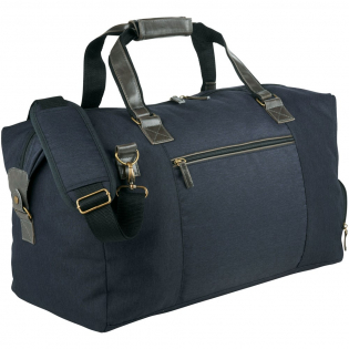 Exhibit your powerhouse style with the Capitol Collection, a blend of classic and contemporary design. Standard features include large main zipped compartment, dedicated zipped shoe pocket, and front zipped pocket for additional storage. Detachable, adjustable padded strap and carrying handles for ease of travel. Imitation leather accents and antique hardware.