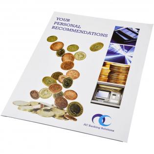 A4 Dokumentenmappe aus Pappe. Umschlag (350 g/m2) mit Visitenkartenschlitzauf der Innenseite. Vollfarbdruck auf der Vorder-, Rück- und Innenseite möglich.