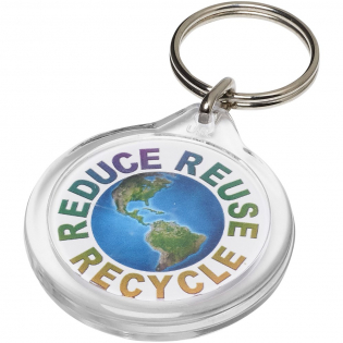 Clear I7 round keychain with metal split keyring. The metal looped ring offers a flat profile which is ideal for mailings. Print insert diameter: 3,3 cm.