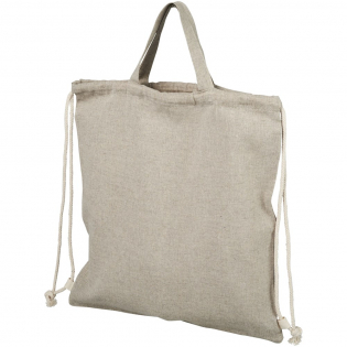 Drawstring backpack made of 150 g/m² recycled cotton polyester blend. Recycled cotton is manufactured from pre-consumer waste generated by textile factories during the cutting process. Similar colours are blended together so no additional dyeing is required. Large main compartment with cotton drawstring closure in natural colour. Features two handles with a dropdown height of 14 cm. Resistance up to 5 kg weight. There may be minor variations in the colour of the actual product due to the nature of the production process.