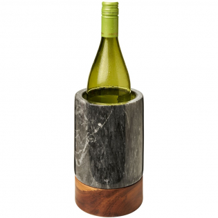 Wine cooler made from hand carved marble and high quality acacia wood.