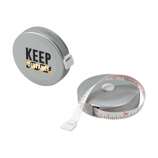 Tape measure with a length of 150 cm and automatic stop. Displays cm and inches.