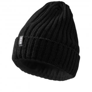 Bonnet Spire. Étiquette boucle avec marque. Tricot côtelé 2x2, 100% acrylique.