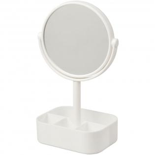 Miroir pivotant double face avec base organisationnelle. Une fois tourné, le miroir donne une vue agrandie 2x.