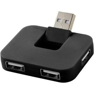 Rechthoekige 4-poorts USB hub met flexibele input-poort.