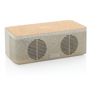 This sleek looking wheat straw (35% wheat fiber mixed with ABS) and cork wireless charging speaker enables you to combine listening to your favorite tunes while charging your phone wirelessly. Simply connect the included 150 cm Type C cable to your charger at home or in the office and you are ready to go. It contains a 5W wireless speaker and a 5W wireless charger on top with a Type C input port and AUX port.  The speaker has a 1200 mAh battery and BT 5.0 that allows a playtime up to 4 hours and operating distance up to 10 metres. When using both functions make sure the item is connected to a power source.
