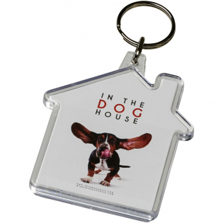 Clear house-shaped keychain with metal split keyring. The metal looped ring offers a flat profile which is ideal for mailings. Print insert dimensions: 5,9 cm x 5,6 cm.