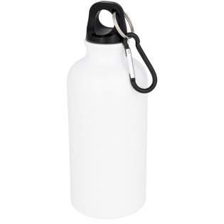 Einwandige Flasche mit Drehdeckel. Die Flasche hat eine spezielle Beschichtung für die Sublimation. Der Karabiner ist nicht zum Klettern geeignet. Das Fassungsvermögen beträgt 400 ml.