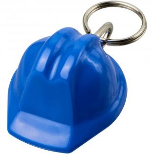 Sleutelhanger in de vorm van een helm met metalen sleutelring. Ideaal voor bouw- of veiligheidsorganisaties.