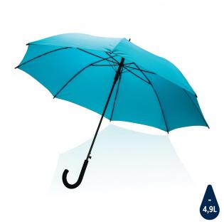 """Kein Greenwashing, sondern eine wahre Geschichte über Nachhaltigkeit! Dieser Schirm wurde aus 190T RPET Pongee mit AWARE™ Tracer hergestellt. Mit AWARE™ wird die Verwendung von echten recycelten Gewebematerialien und die Angaben zur Wasserreduzierung durch disruptive physische Tracer und Blockchain-Technologie garantiert. Sparen Sie Wasser und verwenden Sie echte recycelte Stoffe. Mit dem Fokus auf Wasser werden 2% des Erlöses jedes verkauften Impact-Produkts an Water.org gespendet. Dieser 23"""" Schirm mit automatischer Öffnung hat einen Metallrahmen, Fiberglasspeichen und einen Griff aus PP. Mit dieser Schirmbespannung sparen Sie bereits 4,9 Liter Wasser, hergestellt wurde er aus 8,2 PET Flaschen ( 500ml). Die Wassereinsparungen basieren auf Zahlen im Vergleich zu herkömmlichen Fasern. Diese berechnete Angabe basiert auf zuverlässigen Ökobilanzdaten, die von Textile Exchange in ihren Material Snapshots 2016 veröffentlicht wurden."""