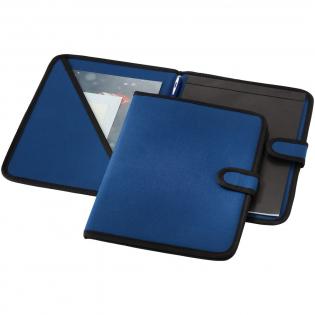 Mappe mit Klettverschluss, Stiftschlaufe, Dokumentenfach und Notizblock mit 20 Blatt, liniert.