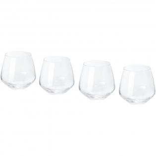 4-teiliges Glasbecher Set. Vielseitige Glasbecher mit abgerundeten Kelchen. Bechergröße: 8,5 cm hoch, 8,5 cm Durchmesser.
