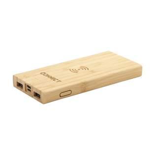Krachtige, duurzame en ecologisch verantwoorde wireless charging powerbank van natuurlijk bamboe met ingebouwde lithiumpolymeer batterij (8000mAh). Laadt smartphones of tablets snel via de USB-poort en beschikt over een geïntegreerde 5W wireless laadfunctionaliteit voor het draadloos opladen van mobiele apparaten die QI draadloos laden ondersteunen (nieuwste generaties Android en iPhone). Input 5V/2A (type-c en micro-USB). Output: 5V/2A. Draadloze output: 5v/1A (5W). Inclusief 50 cm lange micro-USB (2A) oplaadkabel, indicator lampjes, aan/uit knop en gebruiksaanwijzing. Per stuk in doos.