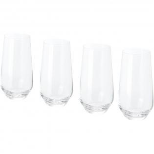 4-teiliges Highball Glas Set. Moderne Highball Gläser mit dünnen Wänden und flachen, abgerundeten Böden. Glasgröße: 15,5 cm hoch, 8 cm Durchmesser.