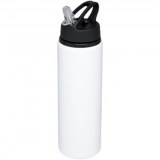 Einwandige Flasche aus Aluminium, Schraubdeckel mit Klappdeckel-Trinköffnung. Der Deckel verfügt über einen Griff für einfaches Tragen. BPA-frei. Das Fassungsvermögen beträgt 800 ml.