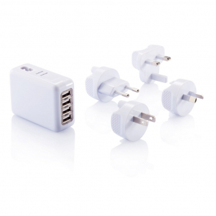 Portable 4 port USB travel plug to charge all your devices when on the road. The powerful 3.1A output gives you enough power to charge all your devices at the same time.  AC Max 240V/350mA, USB Max 5.25V/3.1mA DC. Comes with four different plugs. Packed in pouch.