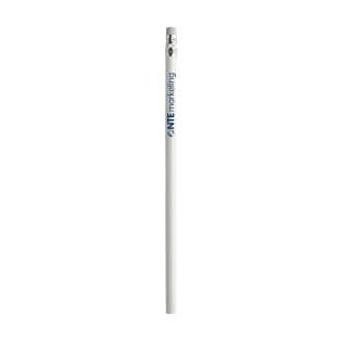 Ongeslepen, houten (HB) potlood met gum. Voorzien van een glanzende laklaag.