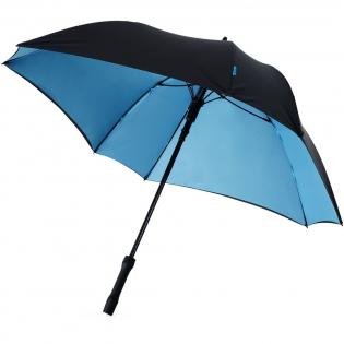 Unieke, exclusief ontworpen vierkante paraplu. Automatisch openend. Binnenkant scherm in contrastkleur. Glasvezel schacht en baleinen en handvat met rubberlaag. Geleverd met een zwarte hoes.