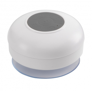 Waterproof, Bluetooth shower speaker with built-in microphone and perfect sound quality. Connect this speaker with your smartphone or tablet. Keep in place with the handy suction cup. Speaker output 3W. Including lithium-ion battery, USB/Audio cable and manual. Each piece in a box.