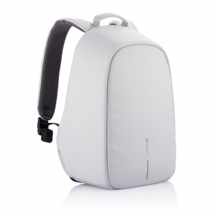 """The Bobby Hero line is our new generation of anti-theft backpacks. This new model will help you to move safely, carefree and organised. Key features such as cut-proof protection, hidden zipper closures & pockets will keep your belongings safe during your commutes.  Bobby is also the most convenient backpack with features such as an integrated USB charging port, water-repellent fabric, illuminating safety strips and a luggage strap. On the inside there are padded compartments for a 15.6"""" laptop, tablet up to 12.9"""" and all your other belongings. Made from R-pet materials and AWARE™ tracer. With AWARE™, the use of genuine recycled fabric materials and water reduction impact claims are guaranteed, by using the AWARE disruptive physical tracer and blockchain technology. Each Bobby Hero Spring saves 12 litres of water and reuses 21 plastic bottles. Registered design®"""