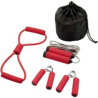 Fitnessset met alle nodige hulpmiddelen voor een perfecte training. Twee handgreeptrainers, springtouw en strektoestel in bijpassend kleurmateriaal. Wordt geleverd in een gaaszakje voor gemakkelijk vervoer en heeft een groot decoratievlak.