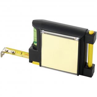 Mètre ruban de 2 mètres avec bloc-notes, crayon et fixation à la ceinture. Niveau intégré. Indication cm et pouces.
