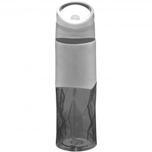 Einwandige Flasche in geometrischer Form mit weichem Griffbereich zur Logo-Anbringung. Schraubdeckel verfügt über Griff und hochklappbarem Strohhalm. Volumen 830 ml. Verpackt in einem Geschenkkarton.