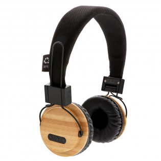ECO bamboo wireless headphone made out of carefully sourced sustainable materials. The earpads are made out of bamboo and the headband is made out of polyester. The foldable headphone uses BT 5.0 for smooth connection up to 10 metres. With 200 mah battery that allows a play time of up to 4 hours on a single charge and re-charging is done in 2 hours. Including mic to pick up and answer calls.