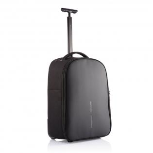 Trolley Bobb, fabriqué à partir de matériaux recyclés rPET et avec traceur AWARE™ , est votre compagnon de voyage idéal pour les petits trajets ou les déplacements quotidiens. Transformez-le facilement de sac à dos en trolley, en rangeant les bretelles dans le panneau arrière et en relâchant la poignée. Lorsque vous passez en mode sac à dos, vous pouvez cacher la poignée et enrouler le sac à dos autour des roues, ce qui permet de garder votre dos propre. Le Trolley Bobby vous permet de rester en sécurité et connecté grâce aux fonctions antivol bien connues du Bobby, combinées à un verrou TSA®. À l'intérieur, vous trouverez des compartiments séparés pour vos vêtements et appareils professionnels, ainsi qu'une pochette pour ordinateur portable à accès rapide qui s'ouvre à un angle de 30 degrés et qui peut accueillir un ordinateur portable de 17 pouces. En plus, vous disposez d'une pochette pour bouteille d'eau et d'une pochette protégée anti- RFID. Modèle déposé ®