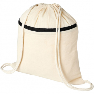 Large main compartment with cotton drawstring closure. Features a coloured zippered front pocket. Resistance up to 5 kg weight.