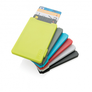 This card holder can hold a maximum of 4 cards or 3 embossed cards. Its designed to block RFID readers from electronic pickpocketing. The slider on the side will push the cards up. Registered design®