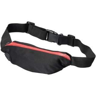 Flexibele sportheuptas met gekleurde rits en oordopjesuitgang. Het spandex materiaal en de elastische heupband met gespsluiting zorgen voor flexibiliteit tijdens het trainen of andere buitenactiviteiten. Groot decoratievlak aan de voorkant.
