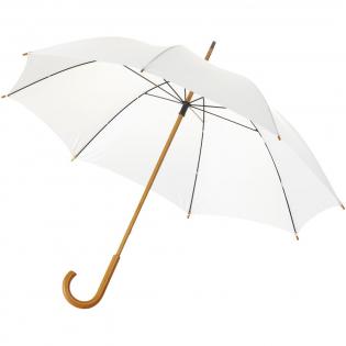 """Parapluie 23"""" avec poignée en bois, mât en bois et baleines en métal."""