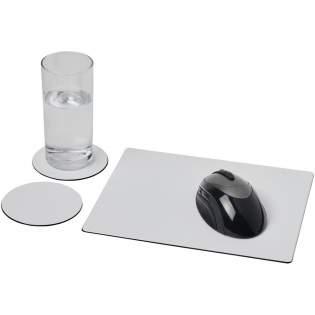 Geleverd met een Brite-Mat muismat en een set bijpassende onderzetters. De set bestaat uit een rechthoekige muismat (0,3 x 19 x 21 cm) en twee ronde onderzetters (0,3 x ø9,5 cm).