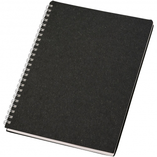 A5 size wire-o notebook made with a FSC certified cover containing wool waste (15%) and post-consumer recycled waste (40%). Includes 80 sheets, 80 g/m2 100% FSC recycled paper with a dotted layout. The dotted grid combines the advantages of lined, plain and squared pages, providing structure and stimulating creativity at the same time, making this notebook suitable for a wide range of users. Thanks to the spiral, the notebook can lie flat for convenience and can be folded easily. Made in Italy.