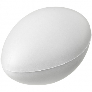 Rugby ball-shaped stress reliever with PU foam. Stress relievers vary slightly in density, color, size, and weight due to mold process which may prevent precise and uniform imprint. Imprint may break up.