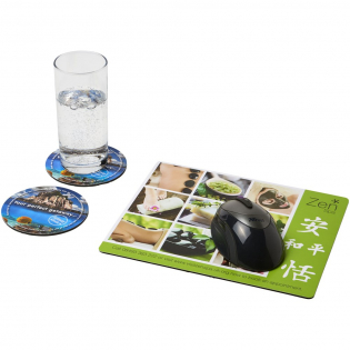 Features a Q-Mat mouse mat and a set of two matching coasters branded with your company design. The set comprises of a rectangular mousemat (0.3 x 23.5 x 20 cm), round coaster (0.3 x ø9.8 cm) and round coaster (0.3 x ø9.8 cm).