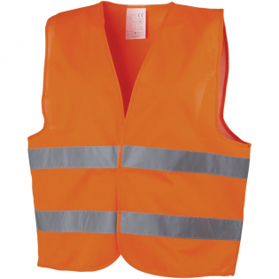 High visibility warning vest Class 2, suitable for persons between 165-180 cm. Large decoration area on the front and on the back of the vest. Visibility clothing for professional use. Fluorescent background and reflective tape. Specification EN ISO 20471:2013+A1:2016. These garments bear CE marking to demonstrate compliance with EU Regulation 2016/425/EU Personal Protective Equipment Category II.