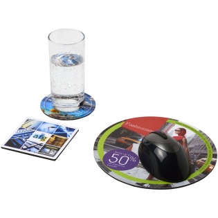 Features a Q-Mat mouse mat and a set of two matching coasters branded with your company design. The set comprises of a round mousemat (0.3 x ø20 cm), square coaster (0.3 x 9.8 x 9.8 cm) and round coaster (0.3 x ø9.8 cm).