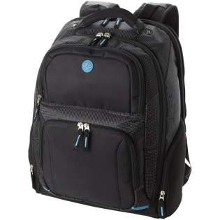 Ausgestattet mit einer Seitenöffnung, die sich ausklappen lässt, um flach auf dem Röntgen-Transportband zu liegen und für einen 15,4-Zoll-Laptop geeignet ist. Das Hauptfach beinhaltet ein spezielles, mit Reißverschluss versehenes, nylexgefüttertes, gepolstertes iPad®/Tabletfach. Wird mit zwei Fronttaschen mit Reißverschluss und einem Ordnungsfach geliefert. Ausgestattet mit einem Ohrhöreranschluss, zwei Seitentaschen mit Reißverschluss und einer Netztasche. Gepolsterte Rückseite mit Neoprengriff und verstellbaren Schultergurten mit Medientasche, Haltegriff und Trolley-Durchführung. Kapazität: 27 Liter.