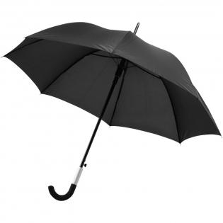 Parapluie au design exclusif avec fonction d'ouverture automatique. Tige et cadre métalliques. Poignée incurvée revêtue de caoutchouc avec détail en aluminium. Poignée au design spécial permettant de suspendre le parapluie à la table. Pochette assortie.