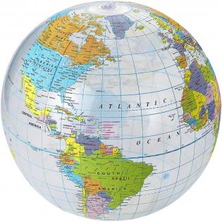 Ballon de plage gonflable avec globe imprimé. Conforme à la norme EN71.