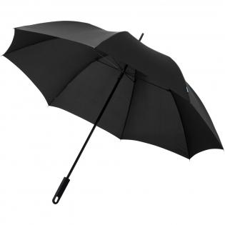 Parapluie au design exclusif avec baleines en fibre de verre, mât en métal et poignée en plastique avec revêtement caoutchouc. Le parapluie est présenté dans une pochette cadeau assortie à la toile.