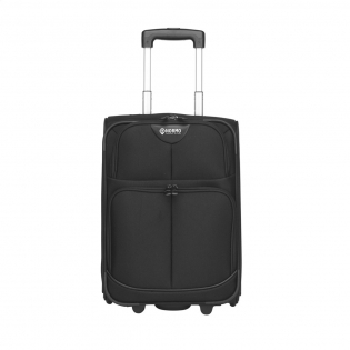 Valise en polyester 1000D avec poche principale, double fermeture à glissière, diverses pochettes, 2 roues et poignée télescopique en aluminium. Capacité environ 22 litres. Par pièce dans une boîte.