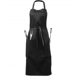 Tablier 100% coton avec accessoires de barbecue comprenant une spatule, une pince et une fourchette.