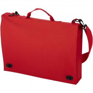 Konferenztasche mit Tragegriff, verstellbarer Schulterriemen, Schnallenverschluss und mehreren Dokumententaschen.