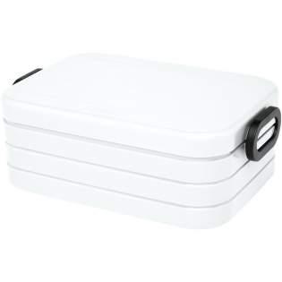 Lunchbox mit dichtem Verschlussring, um den Inhalt frisch und lecker zu halten. Geeignet für 4 Sandwiches. Teiler enthalten. Das Fassungsvermögen beträgt 900 ml. Spülmaschinenfest. BPA-frei.
